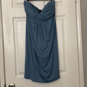 Banana Republic Silk/Linen Strapless Blue Dress
